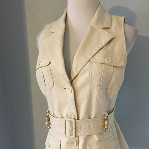 New York & Co. Tan Belted Vest Size Small